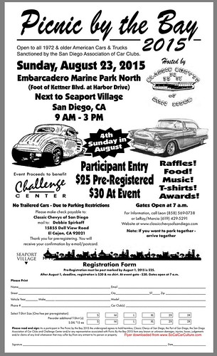 "SAN DIEGO CA USA - ""Pinic by the Bay"" August 23 Sunday 9 AM 3 PM at Embarcadero Marine Park North near Seaport Village San Diego - food, raffles,  music,  T-shirts - credit: www.SoCalCarCulture.com • <a style=""font-size:0.8em;"" href=""http://www.flickr.com/photos/134158884@N03/20749472045/"" target=""_blank"">View on Flickr</a>"