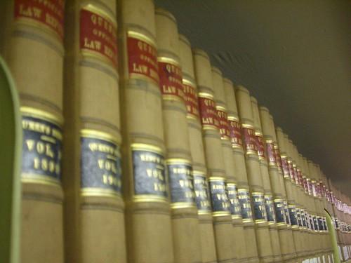 Law books on a shelf.