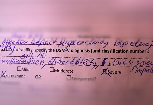Diagnosis: Attention Deficit Hyperactivity Disorder. DSM-V Diagnosis and classification number: 314.00. Retinopathy. Symptoms: inattentiveness, distractibility, some impulsivity, [arrow pointing down] vision. Severity checkboxes. Mild, moderate, and severe with an X beside. X beside permanent condition.