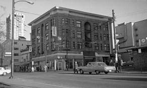 A Townsend & Townsend building (formerly) at NE corner Davie & Denman Sts., ca.1975. COV Archives