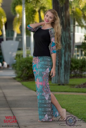 Long Skirt and Lady Bird Top with Three Quarter Sleeves