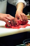 Washoku Lover's Kitchen: Chef Raita rolling up his version of sukiyaki