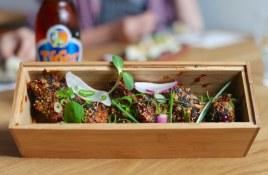Rye So Messy Chicken Wings -- rye and gochujang marinate, mango glaze, ramen crumble, kfc sauce.