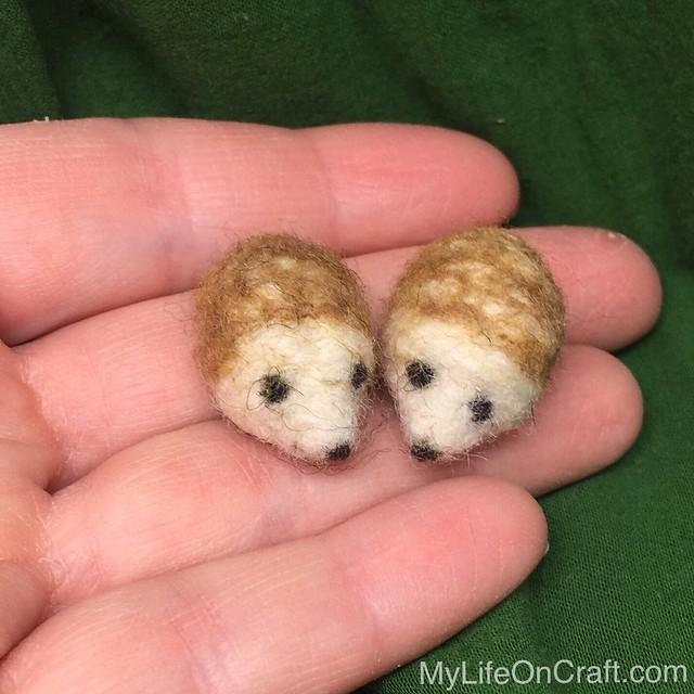 Wee Felted Hedgehog Ornaments