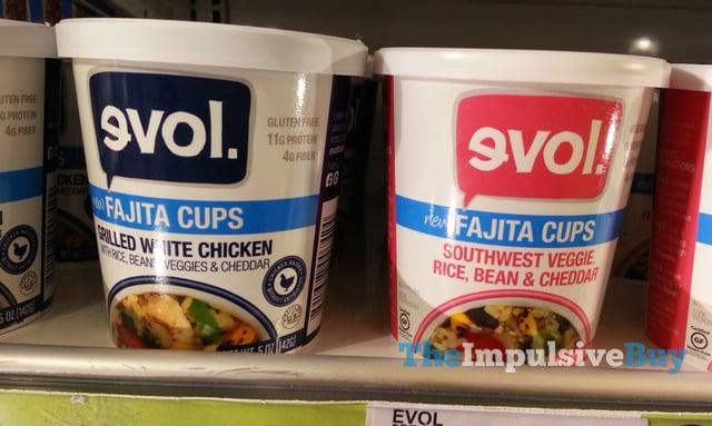 evol Grilled White Chicken and Southwest Veggie Rice, Bean & Cheddar Fajita Cups