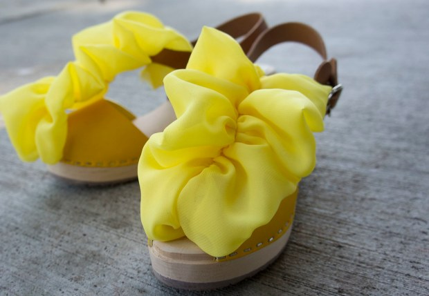 Clogs with Yellow Ruffles