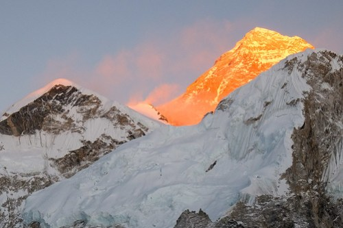 Everest in molten gold.