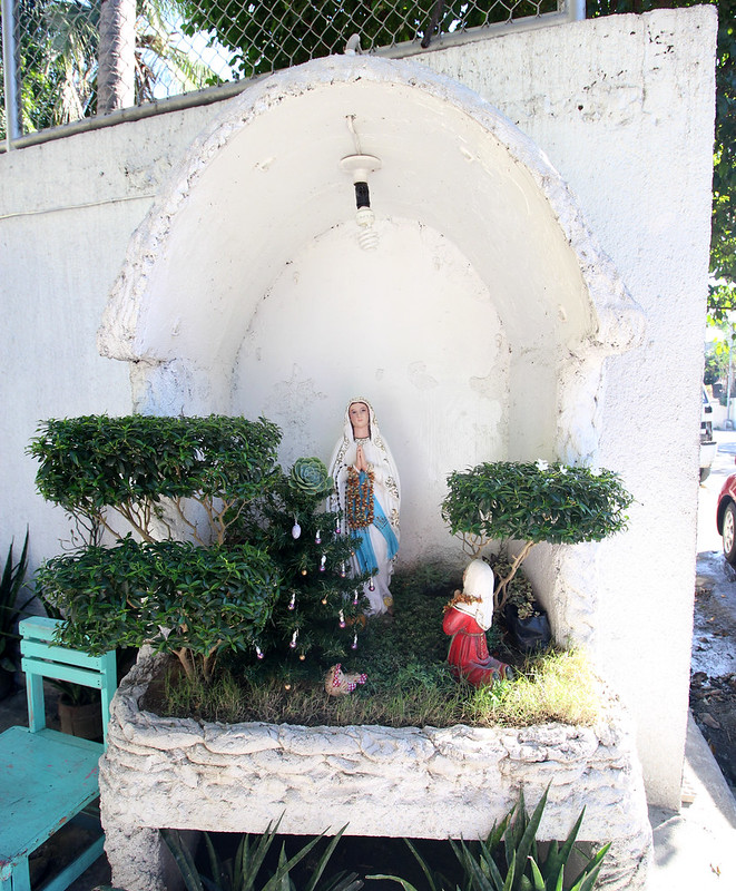 white street side grotto behind a Mormon temple 1