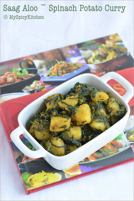 Spinach Potato Curry, Aloo Saag, Palak Aloo, Palakura Alugada Kura, Cooking from Cookbook Challenge,