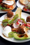 Quinoa and feta fritters, fattoush, avocado, labna and hazelnut dukkah with added poached egg, $22.5. Harry's, Bondi: Sydney Food Blog Review.
