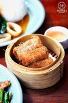 Sydney Food Blog Review of Muum Maam, Surry Hills: Five crab and prawn rice net spring rolls with plum sauce, $6