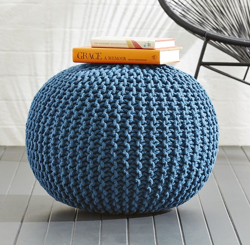 Kmart NZ knitted ottoman in petrol