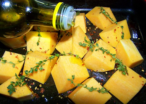 Roasting the butternut squash