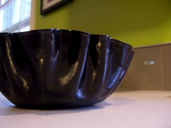 melted vinyl record bowl sideview