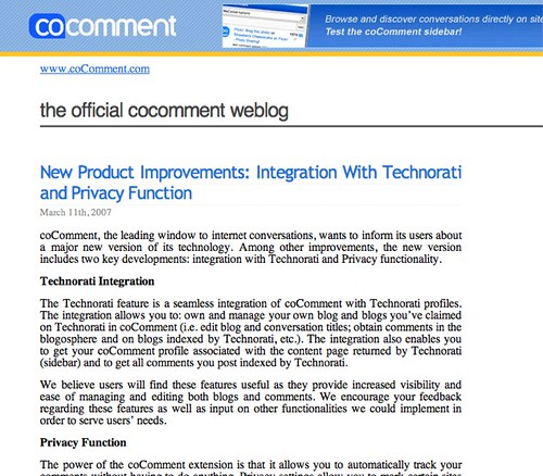 coComment blog -- Corporate Blogging Example