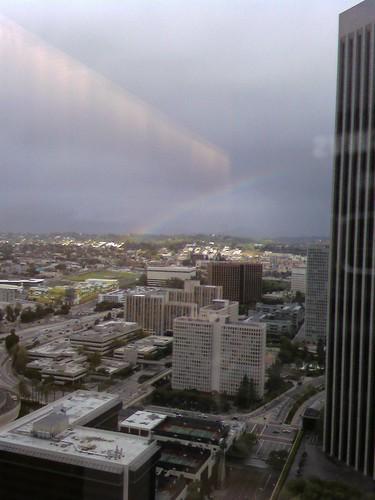 Rainbow over downtown la