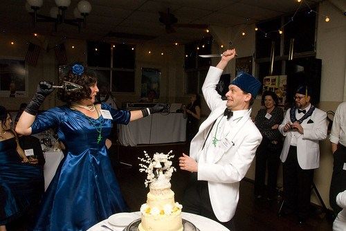alittle jousting before cutting the cake