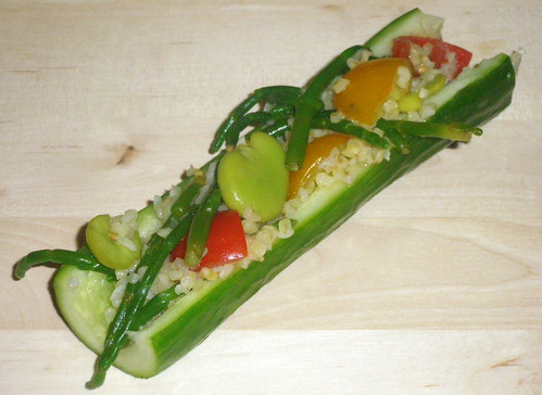 Cucumber stuffed with samphire tabbouleh