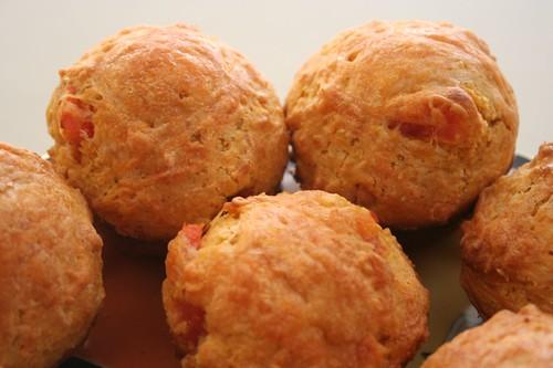 cheese, tomato corn muffins