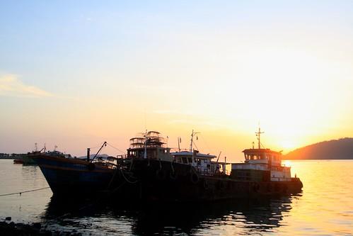 sunset by the harbor, kota kinabalu