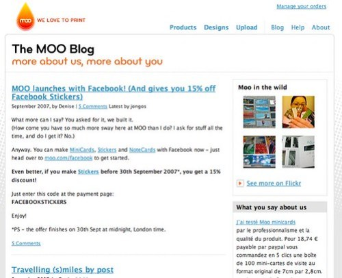MOO | Blog -- Corporate Blogging Example