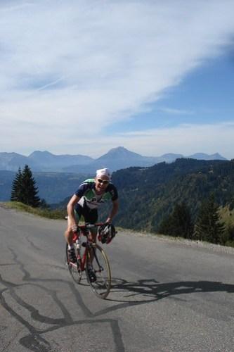 Martin near top of Col de Joux Plane
