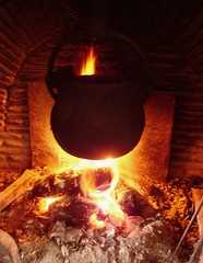 This fire heats the kitchen, and the magic cal...