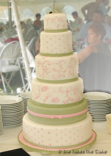soft pink and green tower wedding cake by She Takes the Cake
