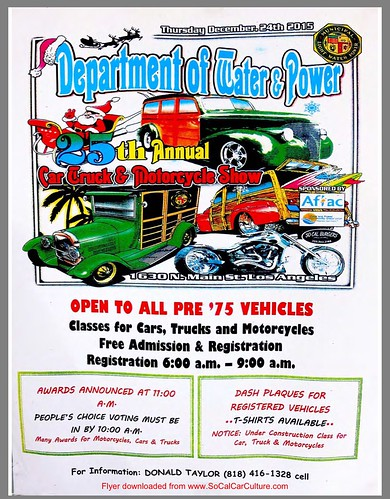 "LOS ANGELES CA USA - ""Department of Water Power  Car Truck Motorcycle Show""   - Next Generation"" December 24 Thursday 6am to 11am.  Credit: www.SoCalCarCulture.com • <a style=""font-size:0.8em;"" href=""http://www.flickr.com/photos/134158884@N03/23632298630/"" target=""_blank"">View on Flickr</a>"