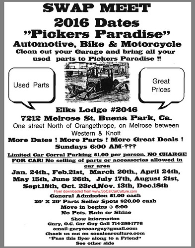 "BUENA PARK CA USA ""Swapmeet Pickers Paradise Automotive Mororcycle Bike"" January 24 Sunday  - 6am  - Car Corral and More - credit: www.SoCalCarCulture.com • <a style=""font-size:0.8em;"" href=""http://www.flickr.com/photos/134158884@N03/24494044716/"" target=""_blank"">View on Flickr</a>"