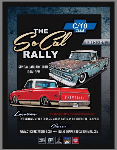 "MURRIETA CA USA - ""The So Cal Rally "" C/10 Club  - January 10 Sunday - 10am to 3pm  Free and open to all - credit : www.SoCalCarCulture.com • <a style=""font-size:0.8em;"" href=""http://www.flickr.com/photos/134158884@N03/24241842456/"" target=""_blank"">View on Flickr</a>"