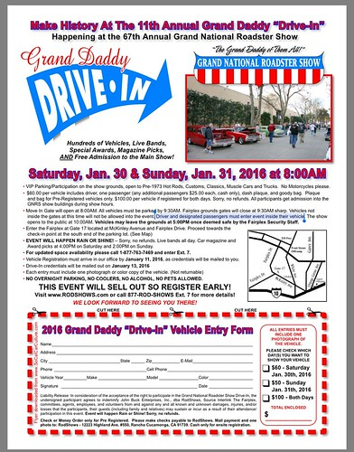 "POMONA CA USA ""Grand Daddy Drive In"". Make history at the grand national roadster show - hundreds of vehicles live bands. free admission to the main show. January 30 31 Saturday and Sunday. 8am. Credit WWW.SoCalCarCulture.com • <a style=""font-size:0.8em;"" href=""http://www.flickr.com/photos/134158884@N03/24657920636/"" target=""_blank"">View on Flickr</a>"