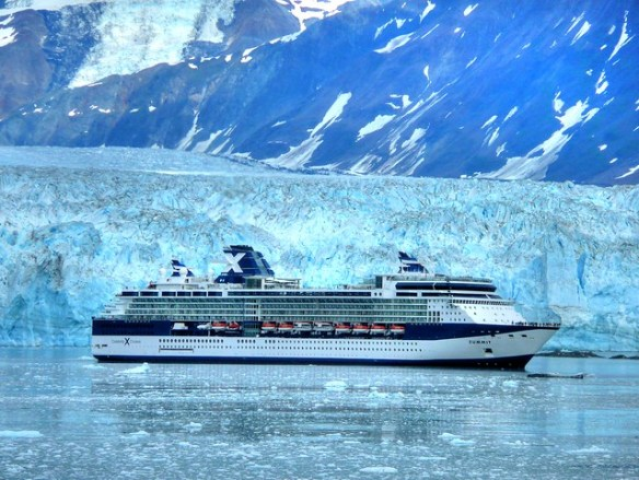 As a as a 13 storey building this cruise ship is dwarfed by Alaska's Hubbard Glacier