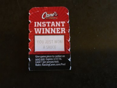 A Condiment? Are you telling me I won a $&@:?!/ Condiment?!?