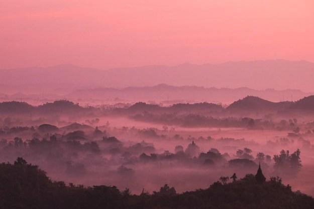 Pink. Shwetaung Paya sunrise
