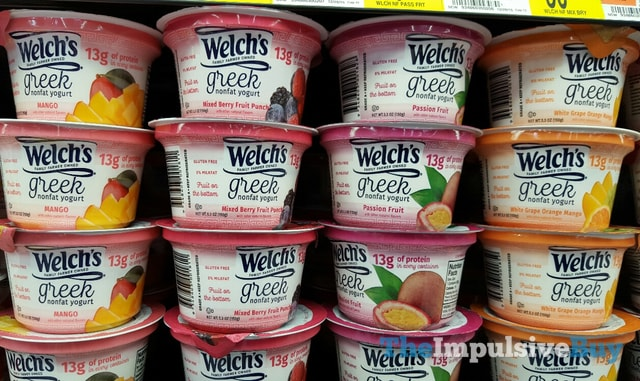 Welch's Greek Yogurt (Mango, Mixed Berry Fruit Punch, Passion Fruit, and White Grape Orange Mango)
