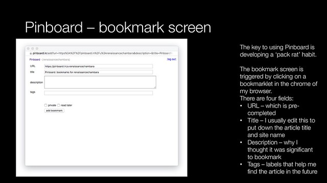 Pinboard - bookmark screen