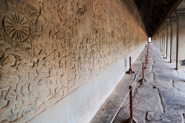 A long tunnel of reliefs. Angkor Wat