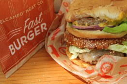 A big juicy Bel Campo Fast Burger at Grand Central Market, Downtown LA