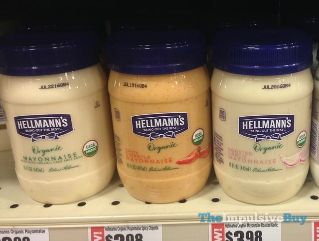 Hellmann's Organic Mayonnaise (Original, Spicy Chipotle, and Roasted Garlic)