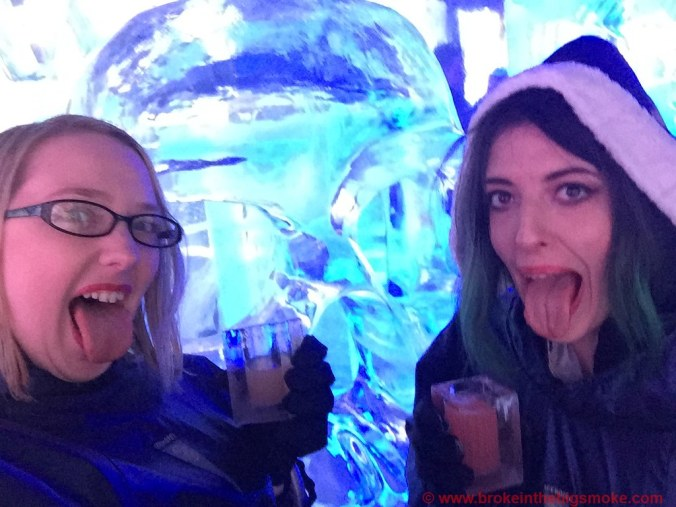 Bloggers below zero Ice Bar London with Emma
