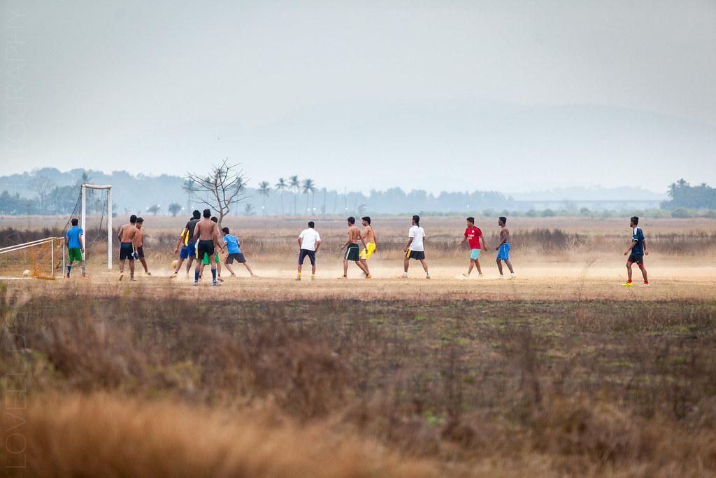 Locals playing football at Divar