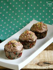 Chocolate Muffins with Cocoa Whipped Cream Frosting