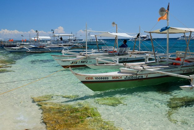 A crowded beach. Apo Island