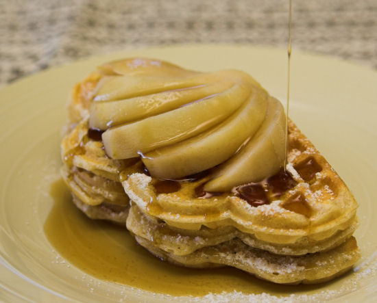 Waffles with cinnamon poached pear
