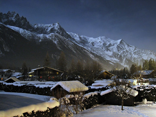 A nighttime scene of Chamonix, France, at Christmas.