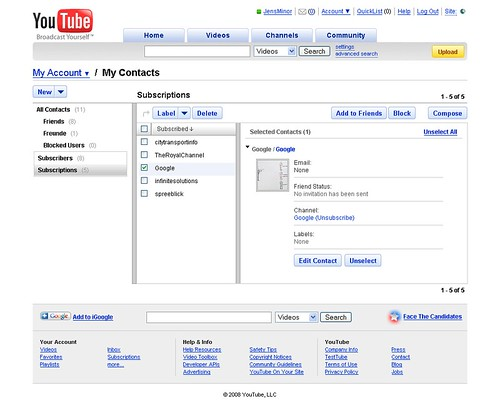 YouTube Contacts