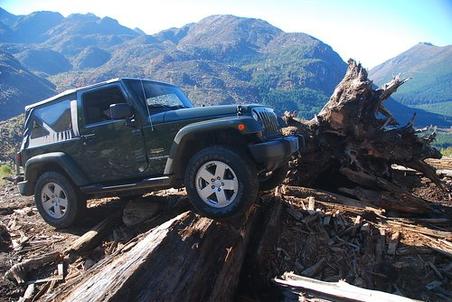 Kelly Navigating a Washout in his Jeep Wrangler