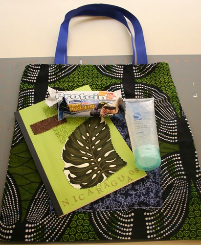 ribbon tote tutorial, stuffed with travel goodies, ready for adventure