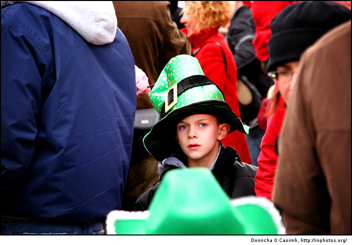 A young leprechaun in the crowd